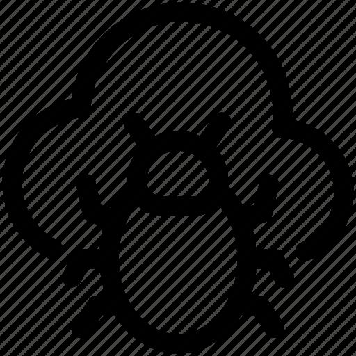 cloud antivirus, cloud bug, cloud computing, malware, virus bug icon