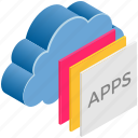 apps, cloud, computing, layers, paper icon
