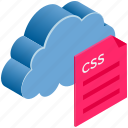 cloud, computing, css, document, file, format, text icon