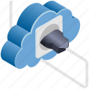 cloud, computing, connect, plug, power, server, socket