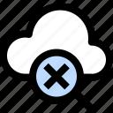 stop, magnifying, cloud, computing, network, alert, exploring icon