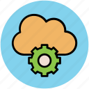 cloud computing, cloud gear, cloud network, network alert, network configuration icon