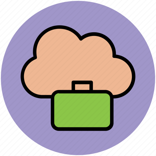 business bag, cloud network, global business, global investment, modern business concept, online business concept, wireless technology icon