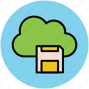 cloud network, digital storage, floppy sign, modern technology, network services, wireless data storage icon