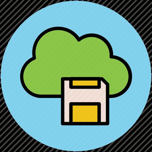 cloud network, digital storage, floppy sign, modern technology, network services, wireless data storage icon