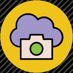 cloud camera, modern computing, modern technology, online camera, online media, sharing network, wireless technology icon