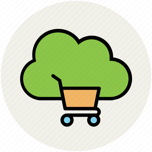 cloud network, ecommerce, modern technology, online shopping, shopping cart, shopping concept, wireless connection icon