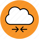 arrows, cloud, cloud computing, cloud network, cloud networking, network hosting icon