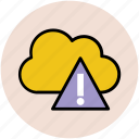 cloud computing, cloud hazard, cloud network, network alertness, network hosting, network services, warning sign icon