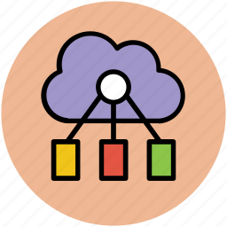 cloud computing, cloud network, data sharing, info sharing, network hosting, network service icon