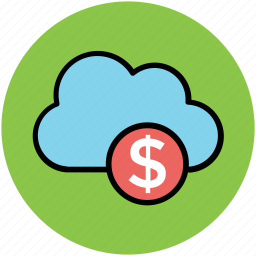 cloud dollar, currency symbol, dollar sign, financial concept, global business, modern technology, online business icon