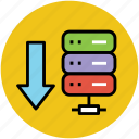 data storage download, database, database copy, download, downloading, server download icon
