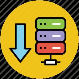 data storage download, database, database copy, download, downloading, server download icon