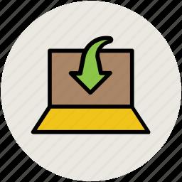 data downloading, down arrow, download, internet, internet coverage, laptop icon