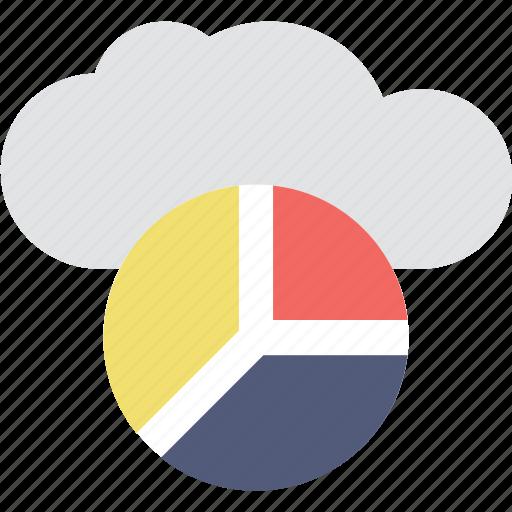 analytics, cloud, online graph, pie chart, pie graph icon