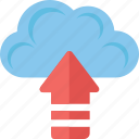 arrow, cloud computing, cloud upload, icloud, uploading icon