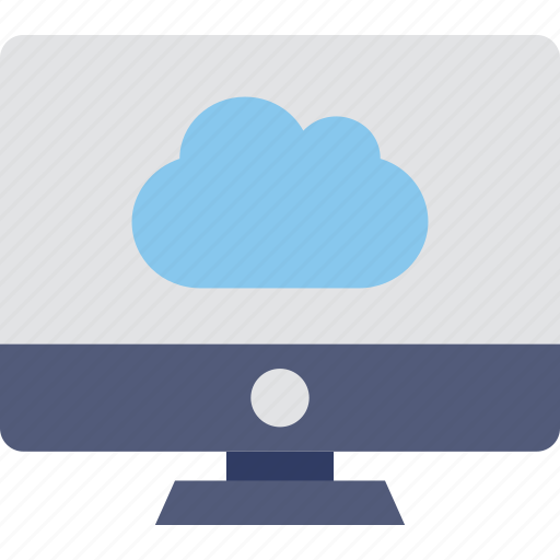 cloud, cloud connection, monitor, network, screen icon