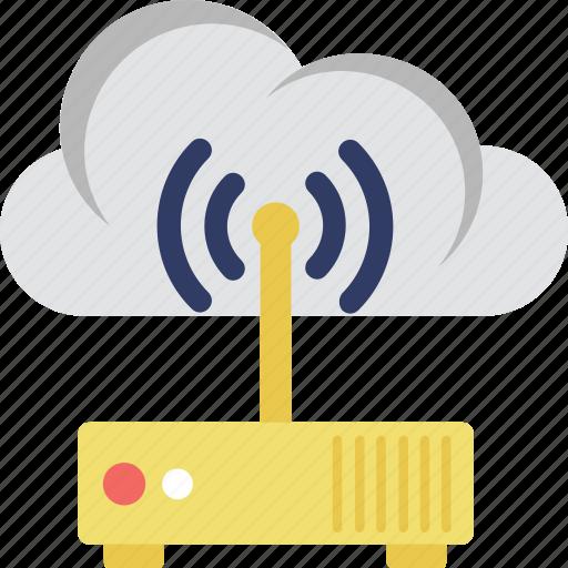 cloud, internet, modem, wifi, wifi router icon