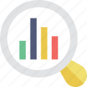analytics, bar graph, magnifier, search, search graph icon