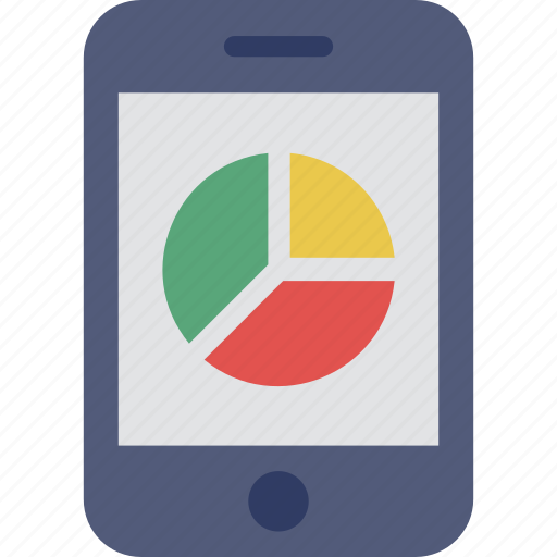 analytics, mobile, mobile graph, pie chart, smartphone icon
