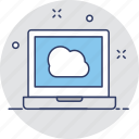 cloud, cloud connection, laptop, network, screen icon