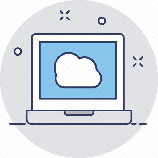 cloud, cloud connection, laptop, network, screen icon