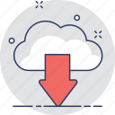 arrow, cloud computing, cloud download, downloading, icloud icon