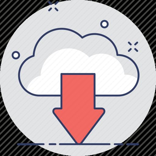 arrow, cloud computing, cloud download, downloading, icloud icon