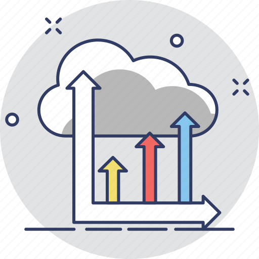 analytics, chart, cloud, infographic, online graph icon