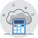 calculator, cloud, cloud computing, network, storage icon