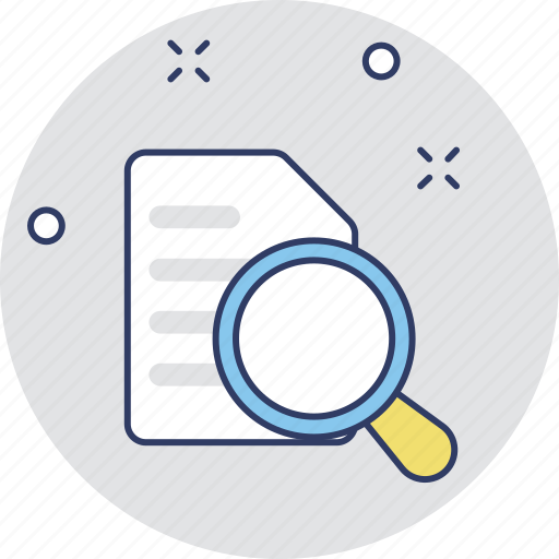 document, file, magnifier, search file, searching icon