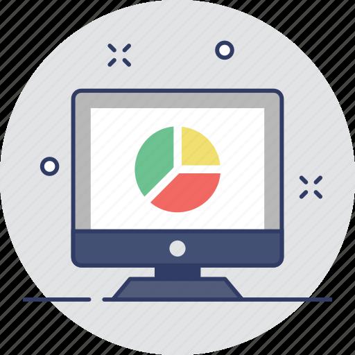 analytics, laptop, online graph, pie graph, statistics icon
