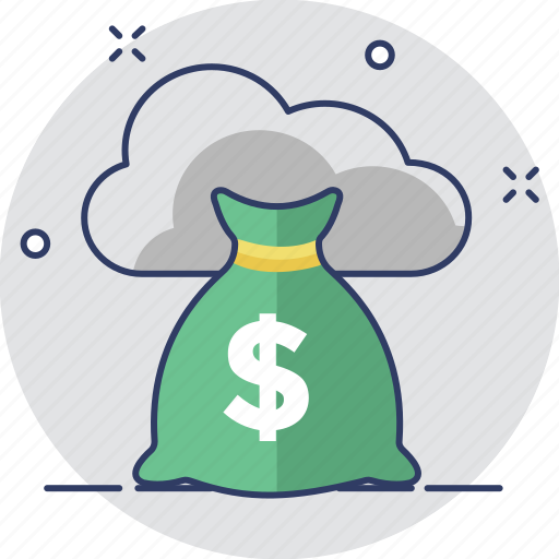 cloud computing, e banking, e commerce, money sack, shopping icon