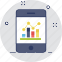 analytics, bar chart, mobile, mobile graph, smartphone icon