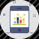 analytics, bar chart, mobile, mobile graph, smartphone icon
