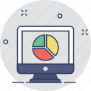 analytics, laptop, online graph, pie graph, statistics icon