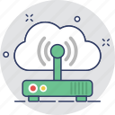 cloud, internet, modem, wifi, wifi router icon