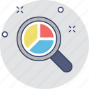 analytics, magnifier, pie graph, search, search graph icon