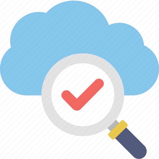 cloud, data, magnifier, network, tick icon