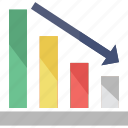 arrow, bar chart, decreasing, loss, statistics icon