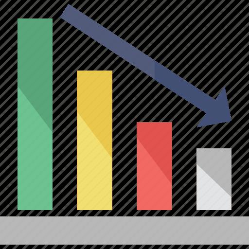 arrow, bar chart, decreasing, loss, statistics icon