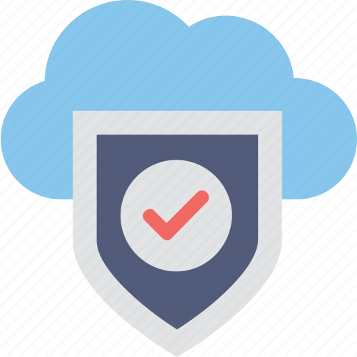 cloud computing, cloud security, firewall, security, tick icon
