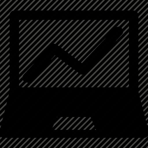 analytics, laptop, line graph, online graph, statistics icon