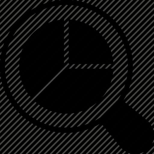 analytics, magnifier, pie graph, search, search graph icon