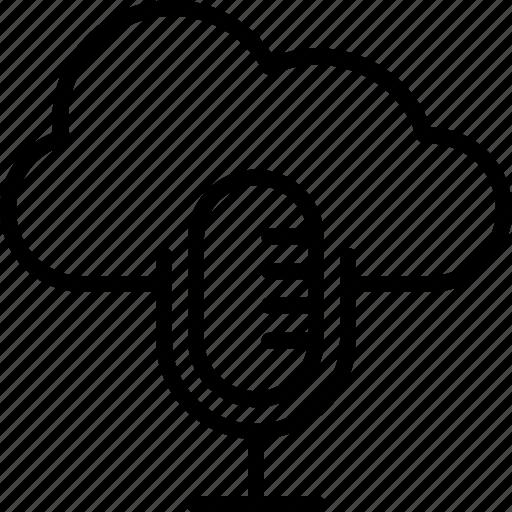 cloud computing, media, mic, multimedia, music icon