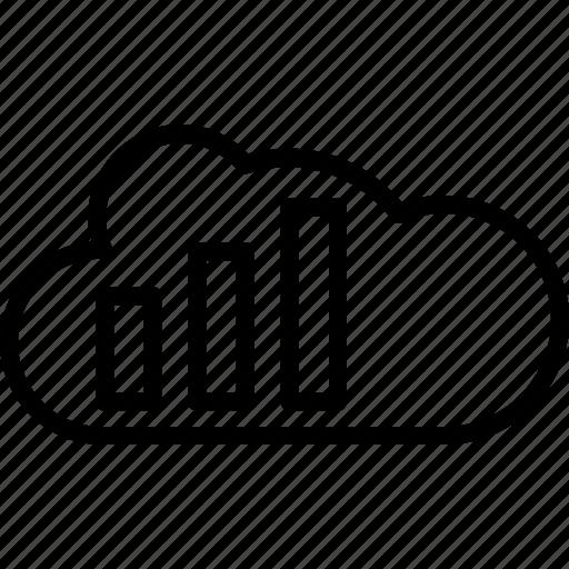 analytics, bar graph, cloud computing, cloud graph, graph icon