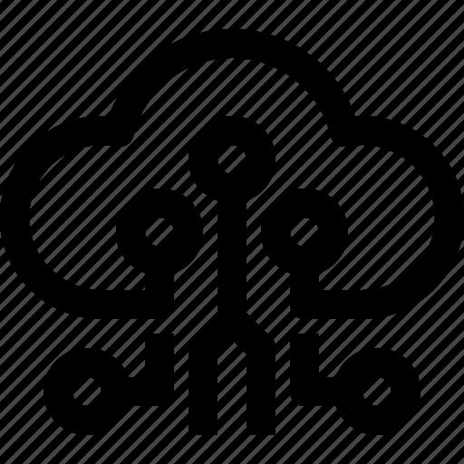 circuit, cloud, computing, digital, technology icon