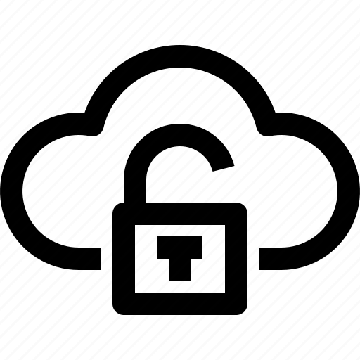 cloud, computing, digital, security, technology, unlock icon