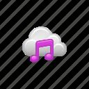 audio, cloud, cloud computing, computing, music, music note icon