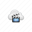 clapper, cloud, cloud computing, computing, film slate, video